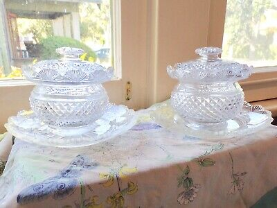 6 PIECE 18th-19th CENTURY REGENCY ANGLO-IRISH CUT GLASS COVERED BOELS and PLATES