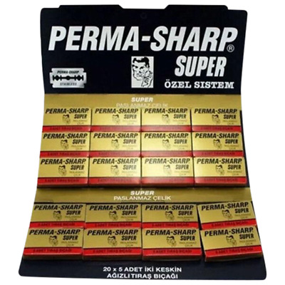 Perma-Sharp Barber Super Double Edge Razor Blades Hanging Card - Pack Of 50