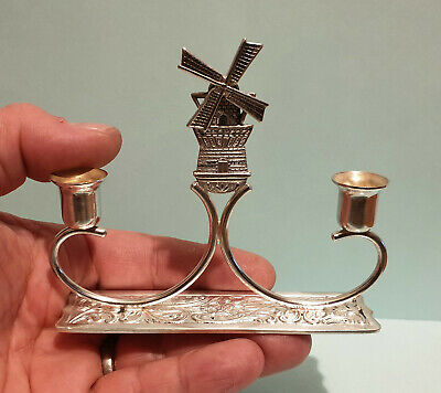 Vintage Dutch Solid Silver Double Candelstick with Moving Windmill Theme - 70.1g