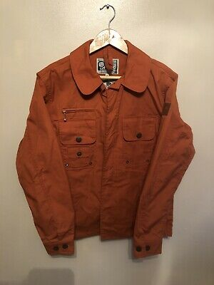 Penfield Hudson Wax Cloth Orange Concealed Button Jacket Size Small