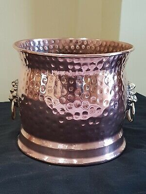 Beautiful Vintage Copper Brass Lion Handle planter/PlantPot Made In England