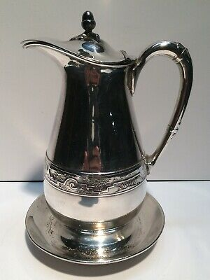 """Beautiful Antique Reed & Barton 7"""" Syrup Pitcher w/ Hinged Lid & Drip Tray Base"""