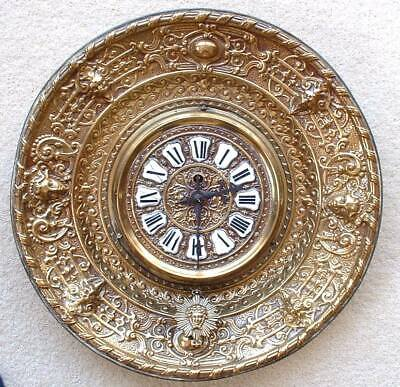 Antique Eugene Farcot Gothic Style French Brass Circular Wall Clock.