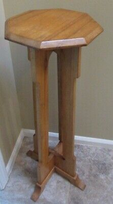 "Vintage Solid Oak 33"" Plant Stand Mission Style Dated 1935"