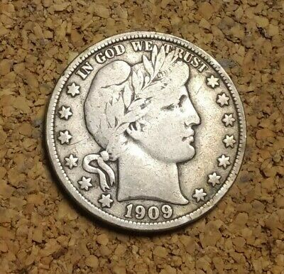1909 S 50C Barber Half Circulated 90% Silver US Coin VF BH278 RARE DATE ANTIQUE