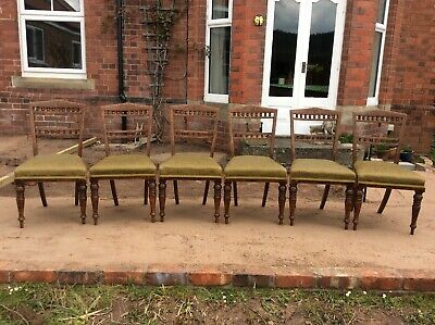 Victorian / Arts and Crafts Tiger Oak Gothic Revival Dining Chairs Set of Six,