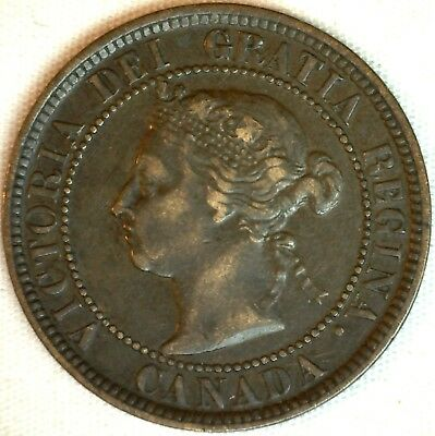 1884 Copper Canadian Large Cent One Cent Coin Very Fine #33