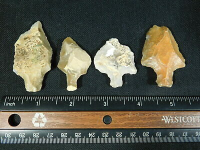 A Lot of FOUR 55,000 to 12,000 Year Old AAA Aterian Artifacts! Algeria 54.8gr e