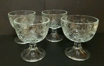 Princess House Fantasia Poinsettia Footed Sherbet Dessert Bowls Set of 4 - #575