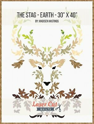THE STAG EARTH COLORS LASER CUT APPLIQUE KIT & PATTERN, from Laser Cut Quilts