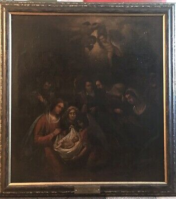18th CENTURY LARGE ANTIQUE OIL PAINTING AFTER PONTORMO NATIVITY SCENE