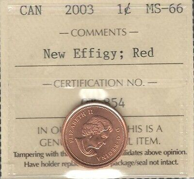 2003 NEW EFFIGY Small Cent ICCS Graded MS-66 RED GEM+ ** STUNNING Canada Penny