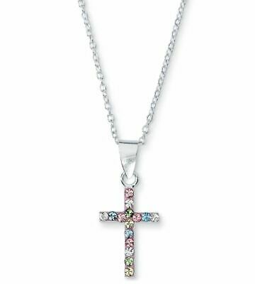 "Beautiful Crystal Cross 18"" Necklace Sterling 925 Silver First Communion/Easter"
