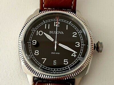 *** Mint *** Bulova 96B230 Military Uhf Watch On Brown Leather Strap