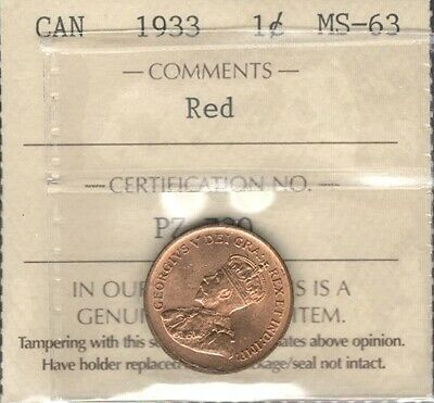 1933 Small Cent ICCS Graded MS-63 RED Lustrous BU King George V BEAUTIFUL Penny