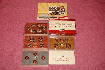 Original 2009 S 18 Coin United States Mint Silver Proof Set With Coa Free Shipin