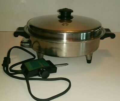 "Saladmaster 7815E 11"" 1150 W Stainless Steel Vapo Lid Oil Core Electric Skillet"