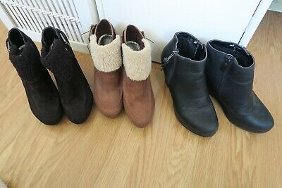3x pairs of ladies short boots M&S & Office platform heels wedges/chunky size 3