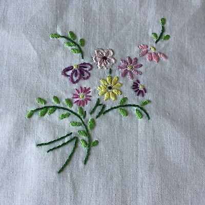 "Vintage Hand Embroidered Floral Linen Small Square Tablecloth 32 x 34"" GC"