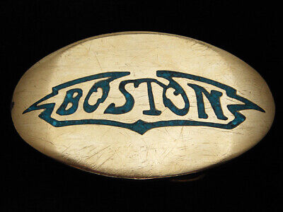 QI03175 VINTAGE 1970s **BOSTON** MUSIC COMMEMORATIVE SOLID BRASS BELT BUCKLE