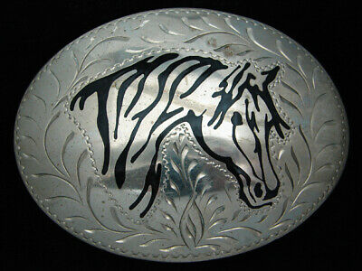 RB11155 VINTAGE 1980s **HORSE** ENGRAVED SOUTHWESTERN DESIGN ART BELT BUCKLE