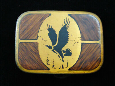 RD15109 VINTAGE 1970s **AMERICAN BALD EAGLE** SOLID BRASS BELT BUCKLE