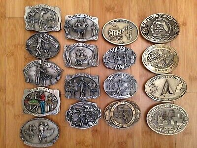 National Square Dance Convention Belt Buckles Lot Of 17.  Pewter, Brass '86-2002