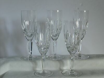 """5 Waterford Crystal Lismore Nouveau 7 3/8"""" Champagne Flutes Glasses"""