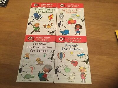 Ladybird Book Homework Helpers Set Of 4 Spelling, French, Tables & Grammer