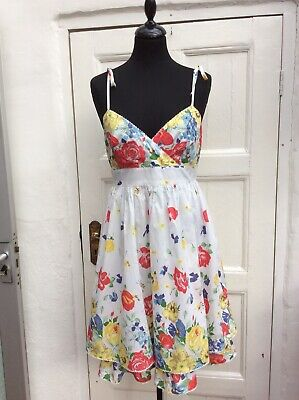 Vintage Warehouse Pure Cotton Floral Strappy Summer Dress Size 12