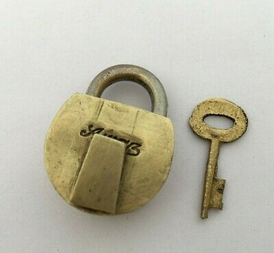 Old Vintage Lock Solid Brass Small Mini Padlock Strong  Collectible Rear Shape