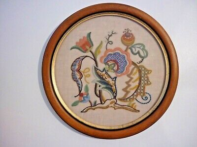 Vintage Crewel Work Jacobean Style Embroidery needlework in Circular frame