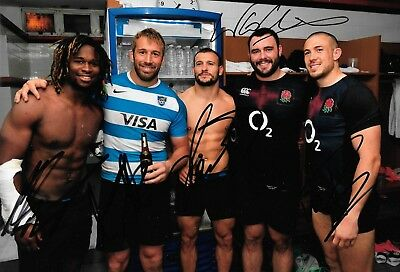 chris robshaw danny care yarde collier brown after england win signed 12x8 photo