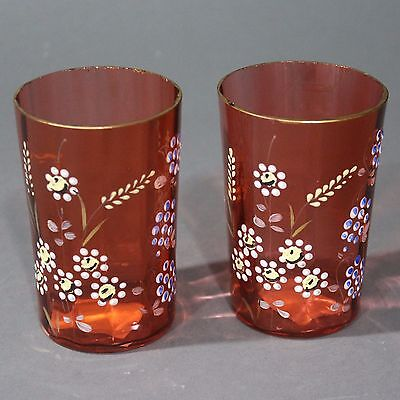 Pair Vintage Victorian Matching Hand Painted Cranberry Red Tumblers Glasses
