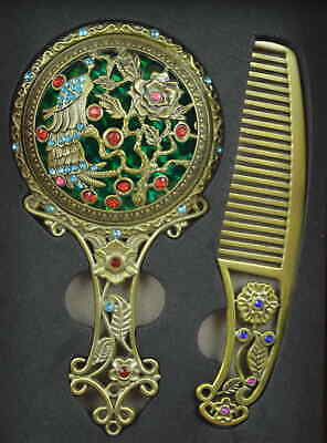 AAA Fine Copper Carve Phoenix & Flower Noble A Set Hand Mirror Comb & Gift Box