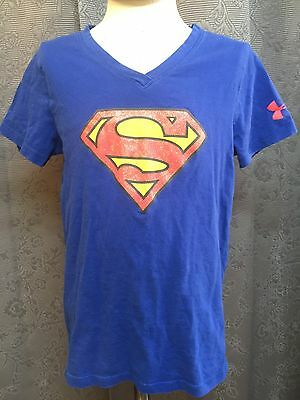 Girls Under Armour Blue Short Sleeve V Neck SUPERMAN Shirt  Small  LOOSE FIT