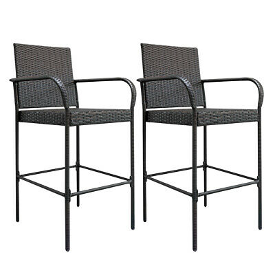 2 High Bar Chair PE Rattan Iron Breakfast Stools Gradient Seat Kitchen Outdoor