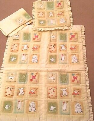 Cot Bed Small Quilt Cushion Cover Spare Fabric Material Basil Bear 100% Cotton
