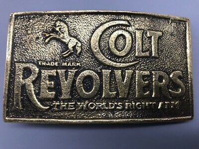 Belt Buckle Vintage Colt Revolvers World's Right Arm BRASS Western Horse