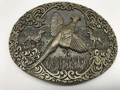 Vintage Pheasant and Dogs  Solid Brass Belt Buckle By ADM