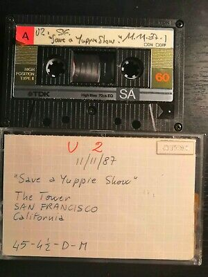 U2 Live at The Tower San Francisco 11-11-1987 Cassette Tape