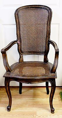 Authentic French Provincial Cane Back & Seat Chair Arm Rest Antique Has History