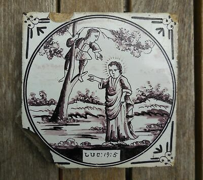 Antique 18th Century Dutch Manganese Luc 19:5 Biblical Scene Tile