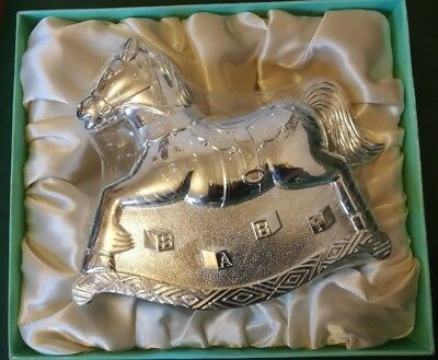 Baby Collection Silver Plated Rocking Horse Money/Piggy Bank/Box Christening