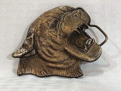 Vintage 1977 Bergamot Brass Works Tiger / Cougar Belt Buckle. Mountian Lion Cat