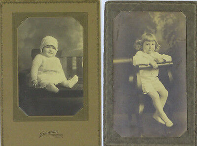 Two Antique Sepia Cabinet Photographs Boussum California, Child Baby Blond Curls