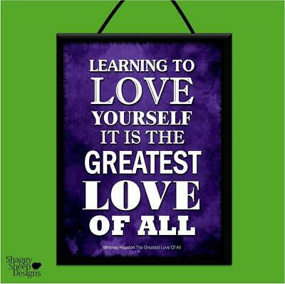 """Whitney Houston """"The Greatest Love Of All"""" Lyrics Poster Plaque*Shabby*Wood Sign"""