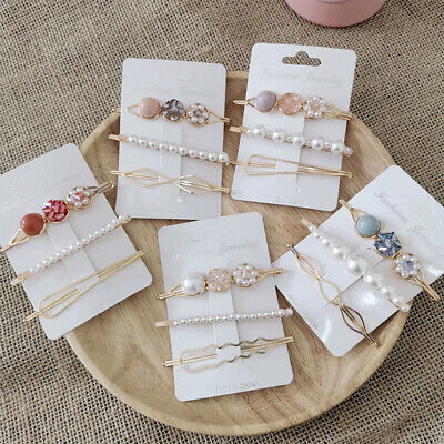 Hair Clips Stick Hairpin Acrylic Snap Barrette Pearl Women Girls Barrette Gifts