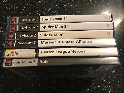 6 Pal Ps2 Marvel Games Spider-Man 1 2 3 Ultimate Alliance Hulk Dc Justice League