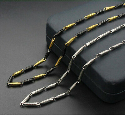 Hot Man Women 316L Stainless Steel 2mm/3mm Golden Black Chain Necklace Gift